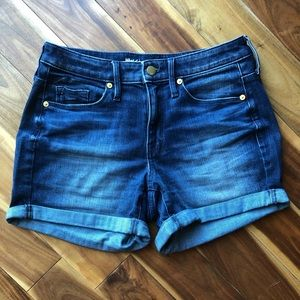 High Rise Midi Jean Shorts